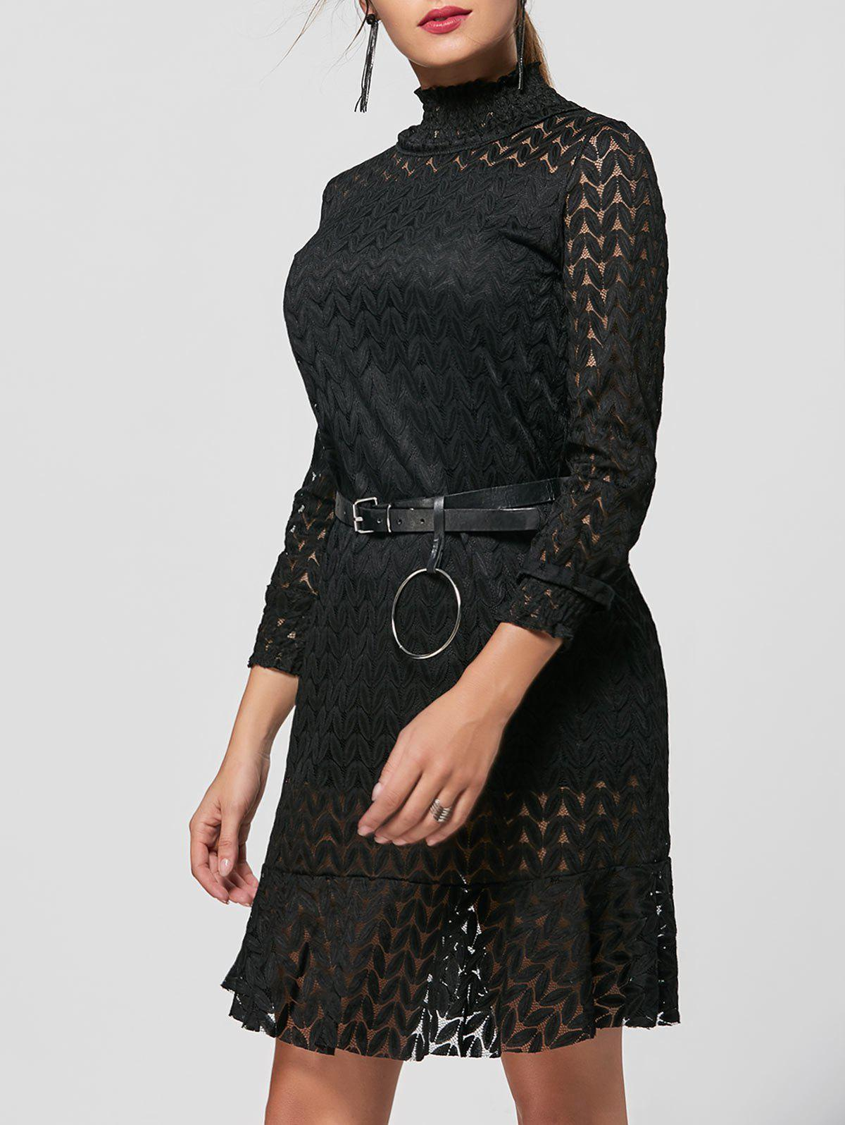 Stand Collar Flounce Shift Lace Dress - Noir M