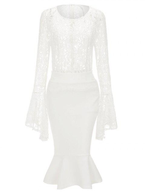 Bell Sleeve Lace Top and Mermaid Skirt - WHITE XL