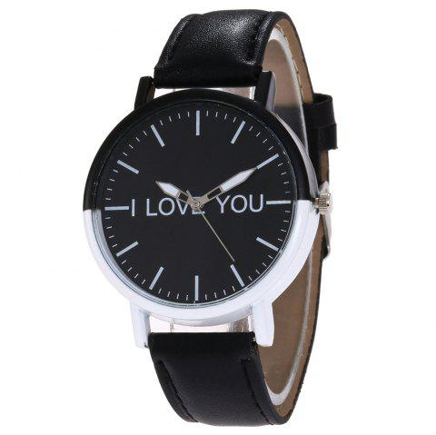 I Love You Faux Leather Watch - BLACK