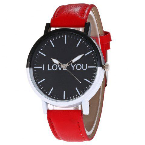 I Love You Faux Leather Watch - RED