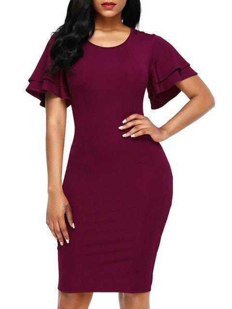 Layered Sleeve Back Slit Bodycon Dress - WINE RED S