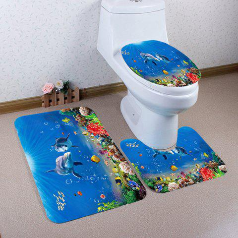 Ocean Dolphin Pattern 3 Pcs Bathroom Toilet Mat - BLUE