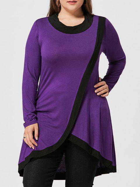 0a7bfa3f9a8 41% OFF  2019 Plus Size High Low Tunic Surplice T-shirt In DEEP ...