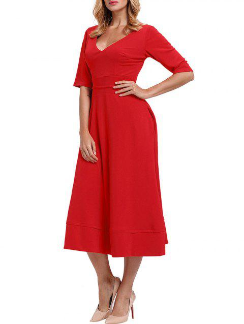 V Neck Half Sleeve Tea Length Dress - RED L