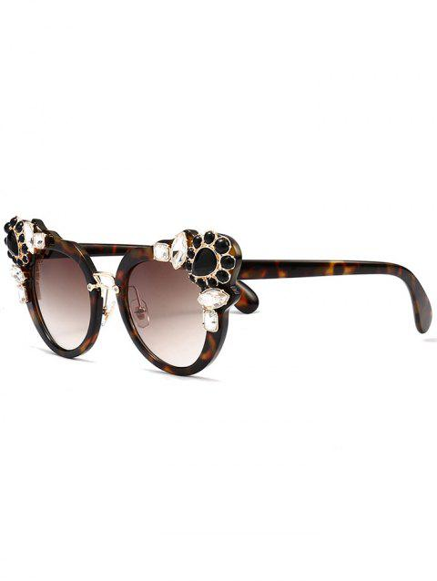 Artificial Crystal Gem Inlay Anti UV Sunglasses - TEA COLORED