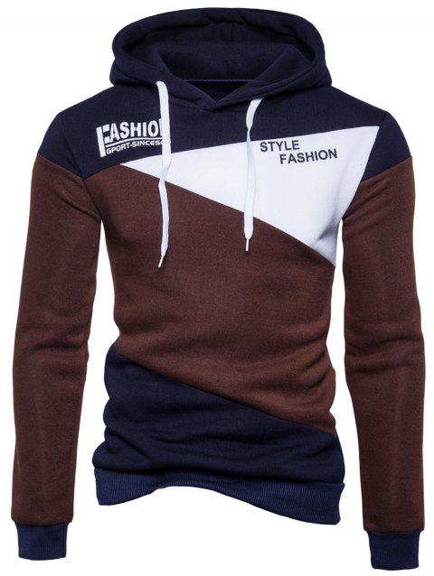 Hoodie De Panneau Tactile De Style Fleece Graphic - Café 2XL