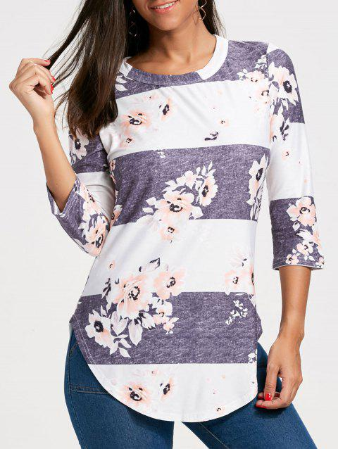Floral Striped Print Casual Long Tee - LIGHT BLUE L
