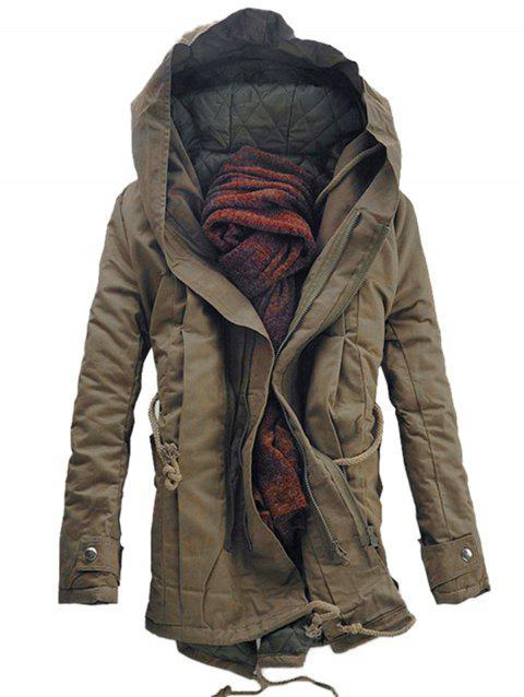 Hooded Padded Double Zip Up Parka Coat - DARK KHAKI 3XL