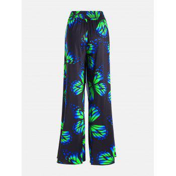 Plus Size Butterfly High Waist Palazzo Pants - COLORMIX 5XL