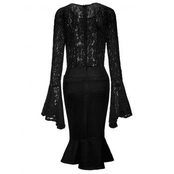 Bell Sleeve Lace Top and Mermaid Skirt - BLACK XL