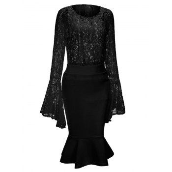 Bell Sleeve Lace Top and Mermaid Skirt - BLACK 2XL