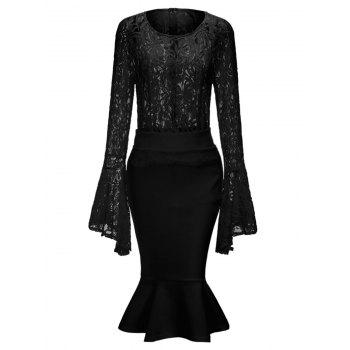 Bell Sleeve Lace Top and Mermaid Skirt - BLACK BLACK