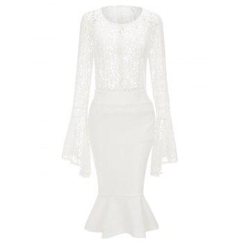 Bell Sleeve Lace Top and Mermaid Skirt - WHITE M