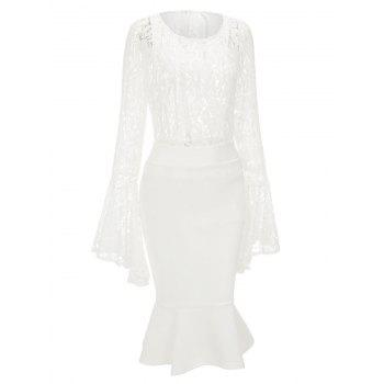 Bell Sleeve Lace Top and Mermaid Skirt - WHITE S