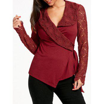 Lace Panel Plunging Neck Wrap Top - RED L
