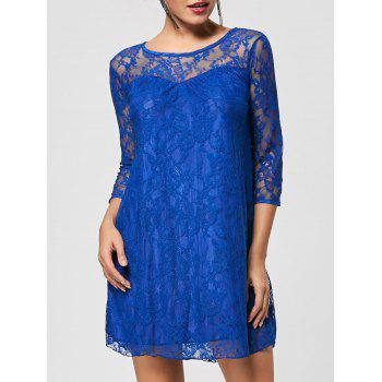 Fashionable Round Collar 3 4 Sleeve Lace Spliced See Through Dress For Women