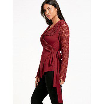 Lace Panel Plunging Neck Wrap Top - RED RED