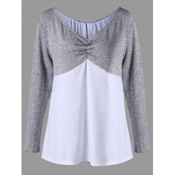V Neck Plus Size Two Tone Top