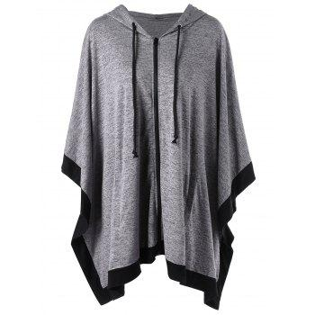 Zip Up Plus Size Hooded Cape Coat