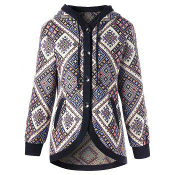 Drawstring Hooded Geometric Tunic Coat