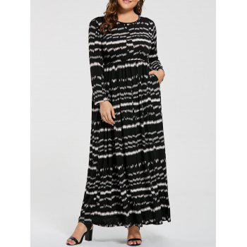 Plus Size Striped Elastic Waist Maxi Long Sleeve Dress