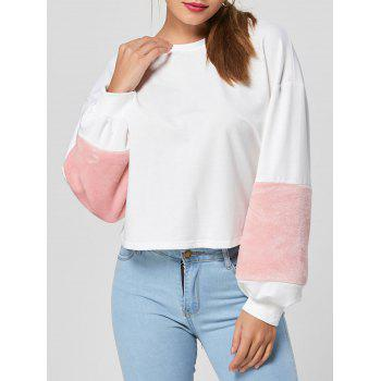 Color Block Faux Fur Patchwork Sweatshirt