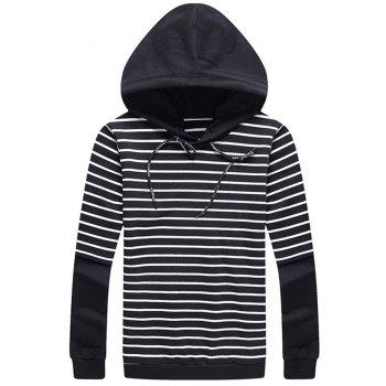 Drawstring Stripe Panel Faux Twinset Hoodie