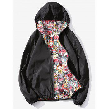 Devils Print Zip Up Reversible Style Jacket
