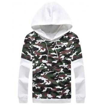 Camouflage Pullover Faux Twinset Hoodie