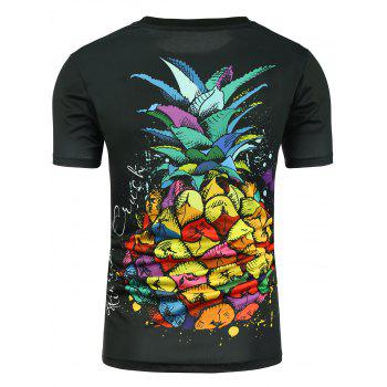 Pineapple Print Graphic T-shirt - BLACK M