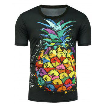 Pineapple Print Graphic T-shirt - BLACK BLACK