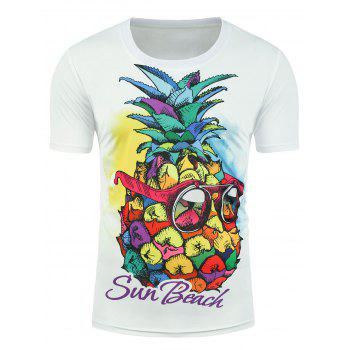 Pineapple Sun Beach Graphic T-shirt - WHITE 2XL