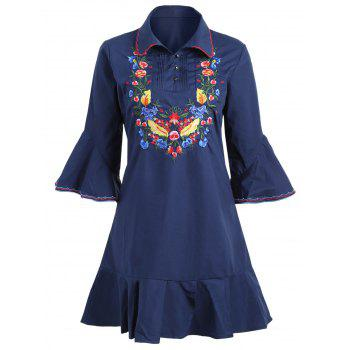 Plus Size Floral Embroidered Bell Sleeve Dress