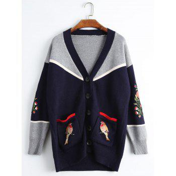 Plus Size Bird Embroidered Drop Shoulder Cardigan