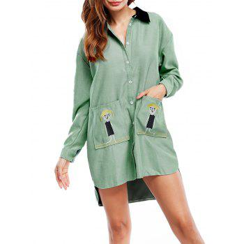 Embroidered Asymmetric Shirt Dress with Pocket