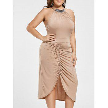 Plus Size Ruched Sleeveless Formal Dress
