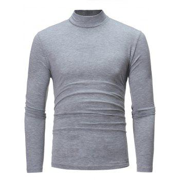 Turtle Neck Cotton Blends Long Sleeve T-shirt