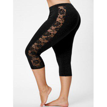 Lace Mesh Panel Plus Size Capri Leggings