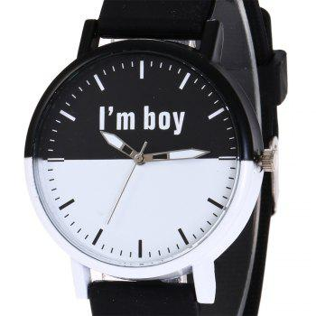 Boy Letter Face Silicone Watch - Noir