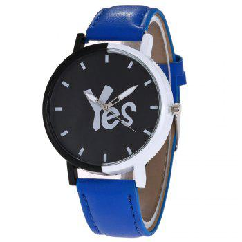Faux Leather Strap Yes Face Watch