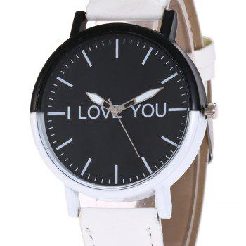 I Love You Faux Leather Watch - WHITE