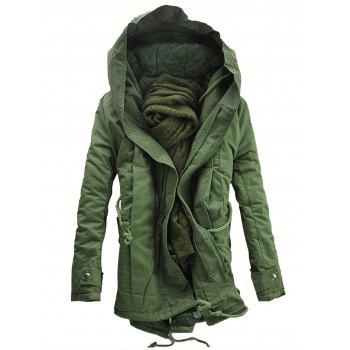 Hooded Padded Double Zip Up Parka Coat