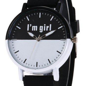 Girl Letter Face Silicone Watch - BLACK