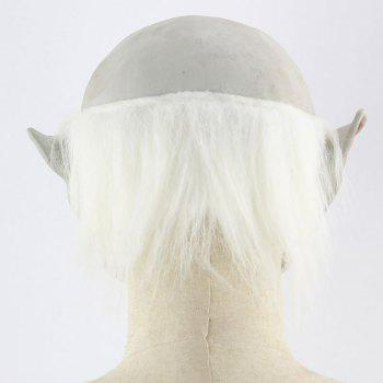 Halloween Decor White Brow Monster Printed Mask With Wig - WHITE