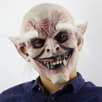 Halloween Decor White Brow Monster Printed Mask With Wig