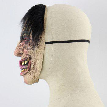 Halloween Decor Wretched Male Printed Mask With Wig - COLORFUL