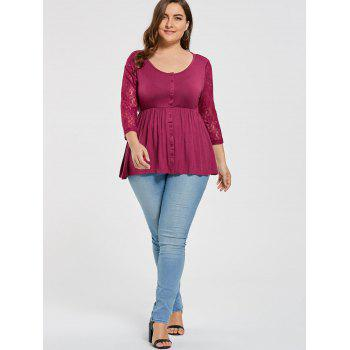 Plus Size Lace Sleeve Button Dressy Blouse - PURPLISH RED 4XL