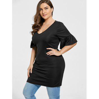 Plus Size V Neck Ruffle Longline Tee - BLACK 3XL