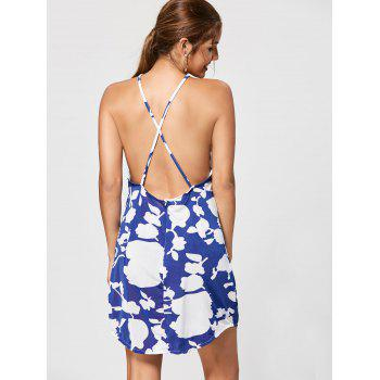 Floral Print Backless Criss Cross Mini Dress - L L