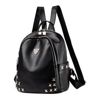 Metal Embellished Zippers Backpack -  BLACK